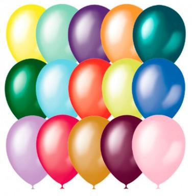 Воздушные шарики 23 см металлик и перламутр 10 шт