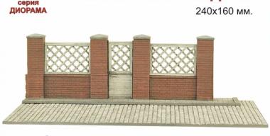 Мостовая с кирпичной парковой оградой 240х160 мм 1:35