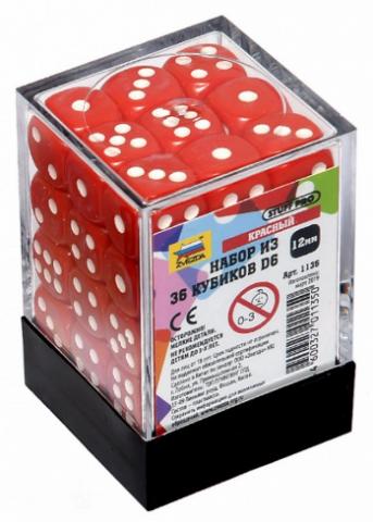 Набор красных игровых кубиков «36D6»
