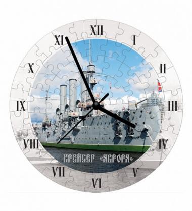 Сборная пазл-игрушка Часы Крейсер Аврора (с часовым мех.)