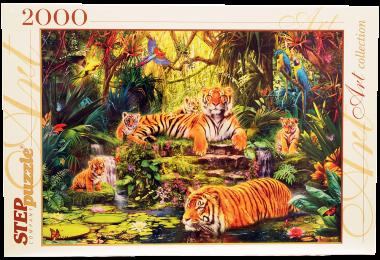 Пазл «В джунглях. Тигры» 2000