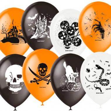 Воздушные шарики 30 см тема страшилки (Halloween) 50 шт