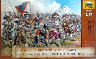 модель солдаты Австрийские мушкетеры и пикинеры 1:72