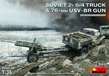 Грузовик SOVIET 2T 6X4 TRUCK & 76-mm USV-BR GUN 35272
