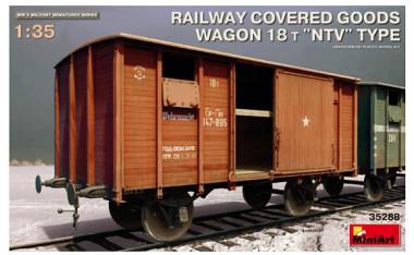 """35288 Вагон RAILWAY COVERED GOODS WAGON 18t """"NTV"""" TYPE 1:35"""
