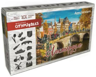 Деревянный фигурный пазл Амстердам Citypuzzles