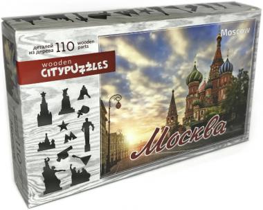 Деревянный фигурный пазл Москва Citypuzzles